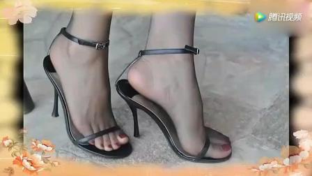 美女脚踩黑色高跟鞋, 简直不要太诱人!