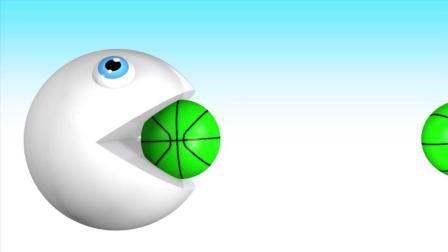 早教益智色彩启蒙动画: 食人豆吃3d足球和篮球变成五颜六色