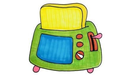 2分钟儿童简笔画,卡通面包机