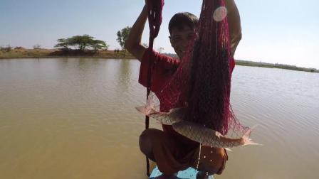 60岁老伯撒网捕鱼, 撒了几网没货, 最后一网拉上来的瞬间却乐坏了