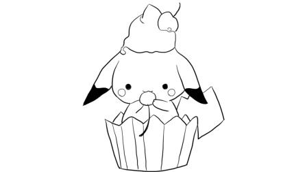 蛋糕纸杯上的宠物小精灵儿童亲子简笔画