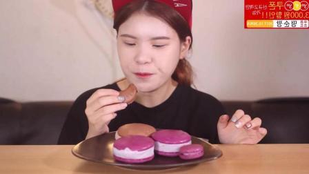 韩国的马卡龙冰淇淋有多好吃? 马卡龙夹这么多冰淇淋