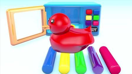 早教益智色彩动画: 微波炉加热培乐多彩泥变成五颜六色的小鸭子