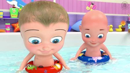 益智启蒙色彩英文动画: 俩个宝宝洗澡唱歌谣