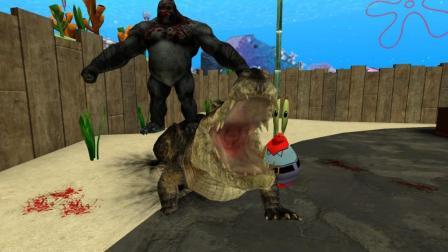 GMOD游戏海绵宝宝大猩猩在蟹堡王门口打鳄鱼