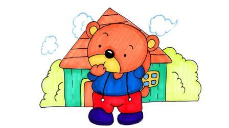 儿童简笔画 2分钟简笔画,憨态可掬的小熊!