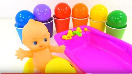 水晶彩泥给宝宝洗澡 过家家