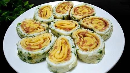 天天学做菜: 鸡蛋火腿卷, 鸡蛋新做法, 大人小孩都爱吃, 制作方法简单!