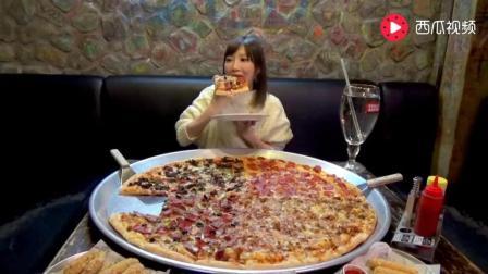 日本大胃王: 吃货木下妹子在北京挑战吃81厘米宽的巨无霸披萨