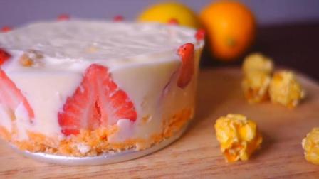 不用打发, 不用黄油, 没有烤箱也能做草莓芝士蛋糕