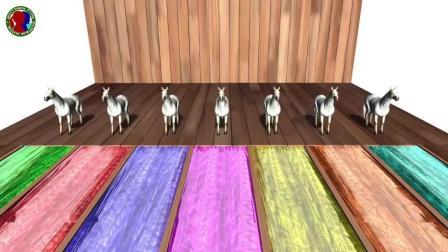 益智启蒙色彩动画: 马通过泳道染色, 学习颜色