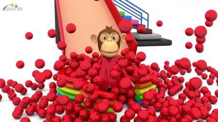 早教启蒙色彩动画: 小猴子乘滑梯, 学习色彩和数字
