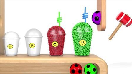 早教益智启蒙色彩动画: 足球使咖啡盒变出很多五颜六色的小足球