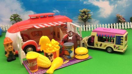 熊大坐光头强的房车野餐