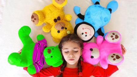 小萝莉有好多玩具, 小兔子小狗小熊, 学习颜色