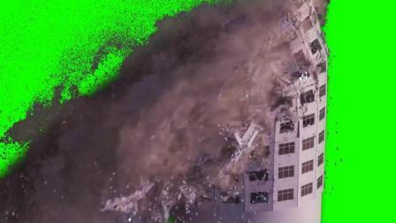高楼大厦倒塌绿屏抠像视频素材