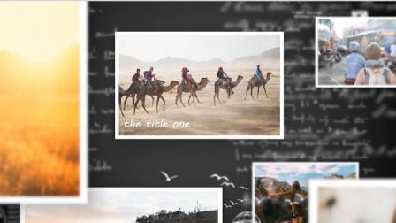 【动画】简洁的三维相册照片墙瀑布流PPT模板