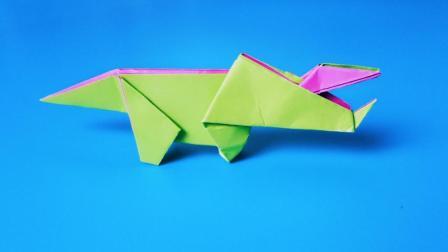 折纸王子大全 简单折纸 小朋友喜欢的儿童折纸三角龙, 原来如此简单, 折纸王子教你一遍就学会了折纸恐龙