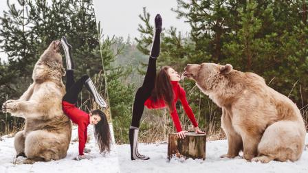 瑜伽女神雪地上演高难动作 一字马