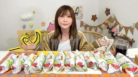 日本吃播大胃王木下佑香今天吃: 赛百味潜艇堡12个