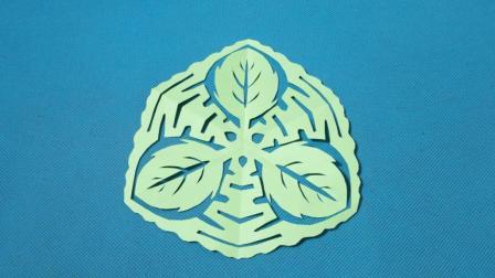 剪纸小课堂673: 树叶团花 剪纸视频教程大全 儿童亲子手工DIY教学 简单剪纸艺术