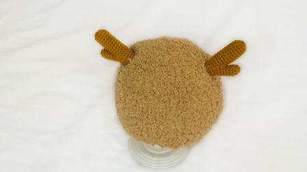 【小脚丫】鹿角帽子婴儿宝宝孩子毛线牛角帽子钩针棒针帽子DIY手工毛线帽子冬季加厚保暖帽子创意编织