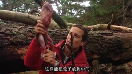 贝爷设置陷阱捕捉到大野兔! 贝爷烤野兔, 吃的好斯文啊!