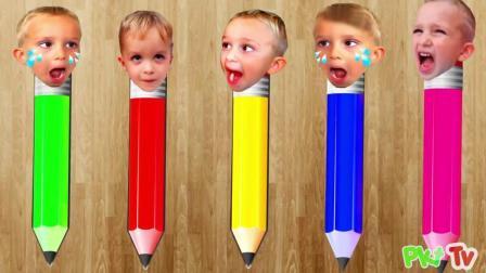 早教益智启蒙色彩英文动画: 铅笔头装上可爱宝宝的头像, 学习颜色