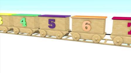益智启蒙数字认知: 木制火车玩具车厢出来很多彩色球, 学习数字