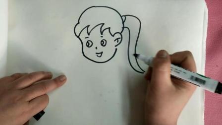 拍皮球的小女孩, 可爱的儿童简笔画