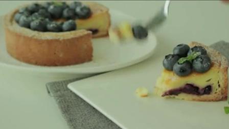 松软香浓的蓝莓芝士蛋糕, 切开的那一刻心都融化了!