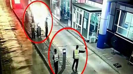 就差一秒, 5名交警与死神擦肩而过, 监控拍下这惊心一幕!