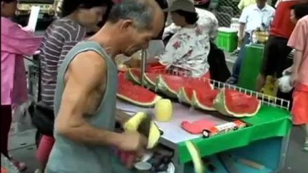 一把菜刀动作快如闪电, 削菠萝皮我就服越南老爷爷