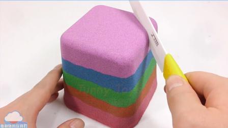 太空沙蛋糕玩法 牛奶彩色冰淇淋做法 动力沙 天使沙 熊做玩【 俊和他的玩具们 】