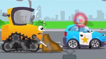 儿童挖掘机卡通 捣蛋的小汽车用铁钉扎破警车的轮胎  跳上推土机的车顶