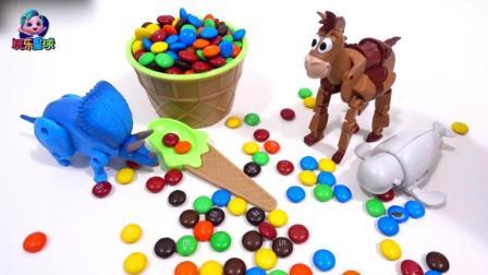 霸王龙木马奇趣蛋 巧克力冰淇淋碗玩具