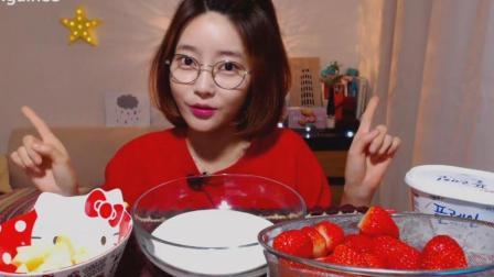 韩国吃播: 美女自制的减肥食谱水果酸奶