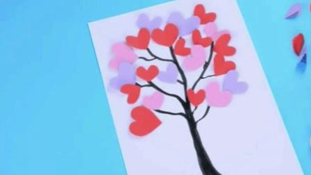 幼儿园手工制作: 教你制作爱心卡纸贴花, 有孩子的赶紧学吧!