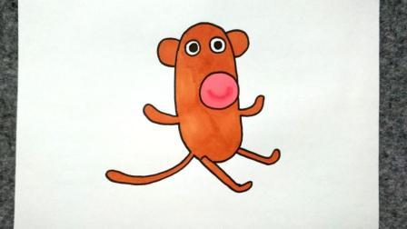宝宝爱画画第八十二课 卡通小猴子简笔画步骤, 卡通猴子图片绘画教程, 个性抽象猴子动画