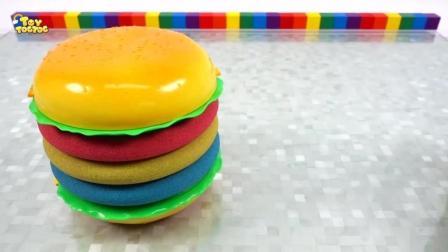 创意色彩手工认知: 太空沙制作彩虹汉堡, 开发孩子想象力
