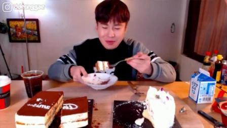 韩国豪放派大胃王donkey哥哥吃果酱奶油蛋糕和提拉米苏牛奶