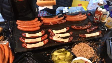 美国人果真豪气, 这么大的热狗面包, 吃半个就饱了
