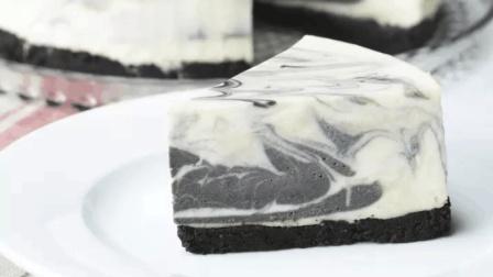 美丽的大理石纹路芝士蛋糕, 非常甜蜜的美食