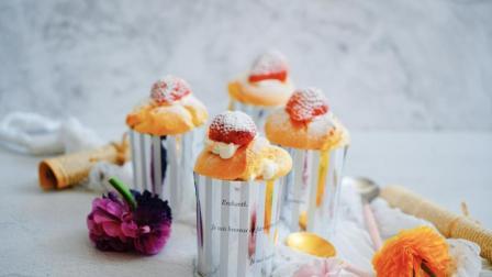 我的日常料理 第一季 爆浆的草莓蛋糕你不想尝尝吗 日式草莓奶油海绵杯子蛋糕