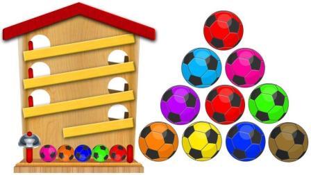 彩色足球和气球学数字和颜色
