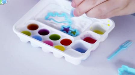 日本食玩之调色板软糖 一起来边画边吃 小伶章鱼哥开推土机玩具