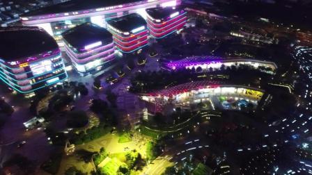 海南海口国兴大道日月广场夜景喷泉航拍