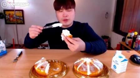韩国吃播大胃王donkey弟弟吃2个芝士奶油蛋糕和牛奶
