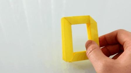 字母折纸系列教程: 大写字母D的简易折法, 看一遍就能学会#晨习夜读#