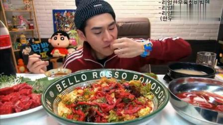 韩国大胃王奔驰小哥吃拌生牛肉和烤牛肉,饭后再吃点冷面和拌饭